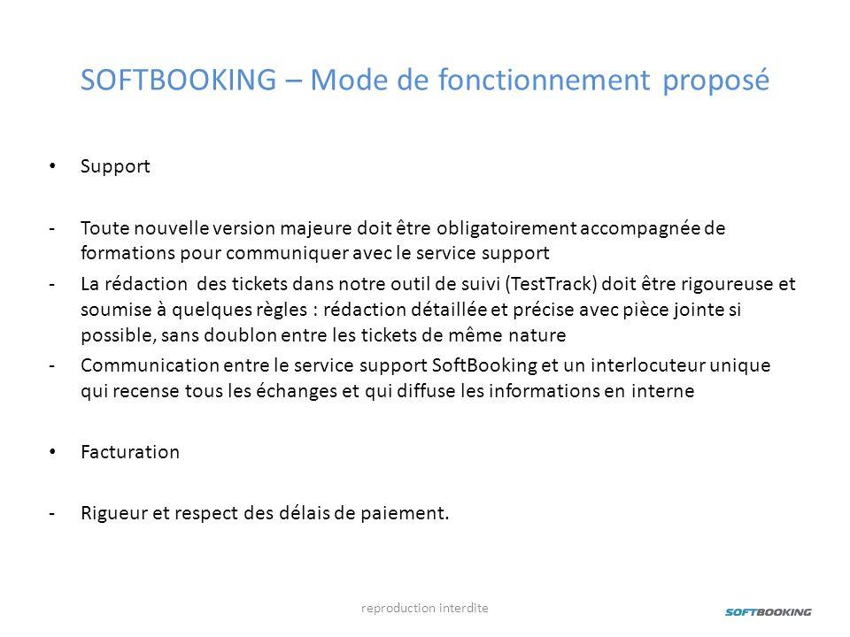 SOFTBOOKING – Mode de fonctionnement proposé Support -Toute nouvelle version majeure doit être obligatoirement accompagnée de formations pour communiq