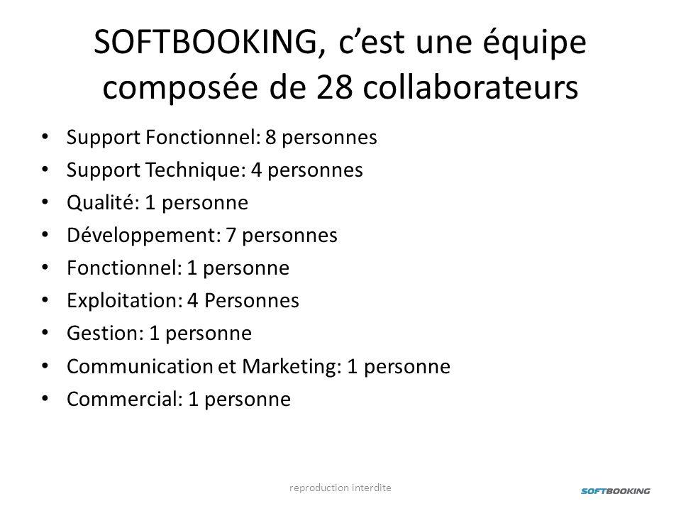 SOFTBOOKING, cest une équipe composée de 28 collaborateurs Support Fonctionnel: 8 personnes Support Technique: 4 personnes Qualité: 1 personne Dévelop