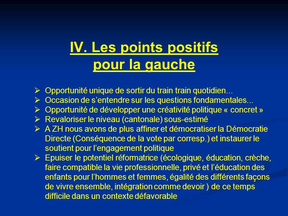 IV. Les points positifs pour la gauche Opportunité unique de sortir du train train quotidien...