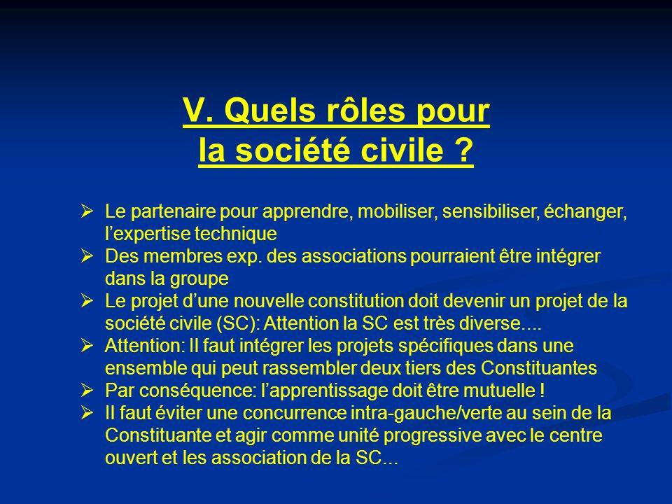 V. Quels rôles pour la société civile .