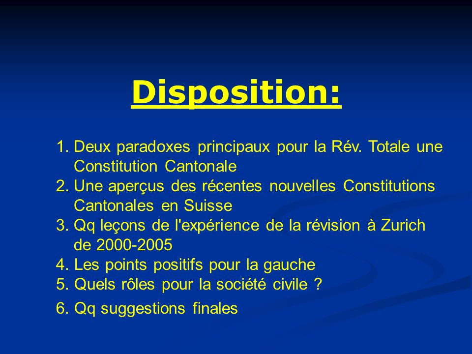 Disposition: 1.Deux paradoxes principaux pour la Rév.