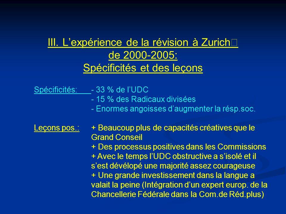 III. Lexpérience de la révision à Zurich de 2000-2005: Spécificités et des leçons Spécificités:- 33 % de lUDC - 15 % des Radicaux divisées - Enormes a