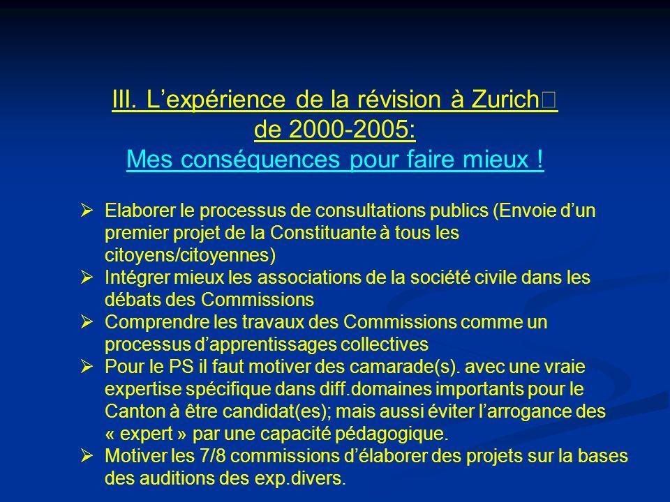 III. Lexpérience de la révision à Zurich de 2000-2005: Mes conséquences pour faire mieux .