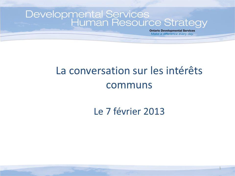 La conversation sur les intérêts communs Le 7 février 2013 1