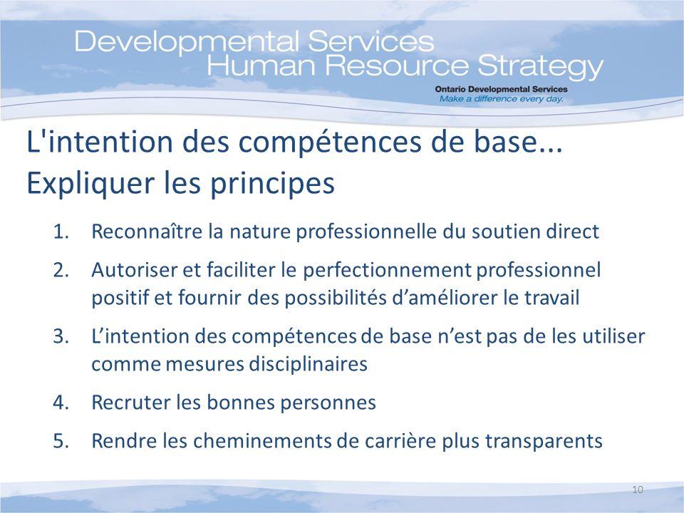 1.Reconnaître la nature professionnelle du soutien direct 2.Autoriser et faciliter le perfectionnement professionnel positif et fournir des possibilit