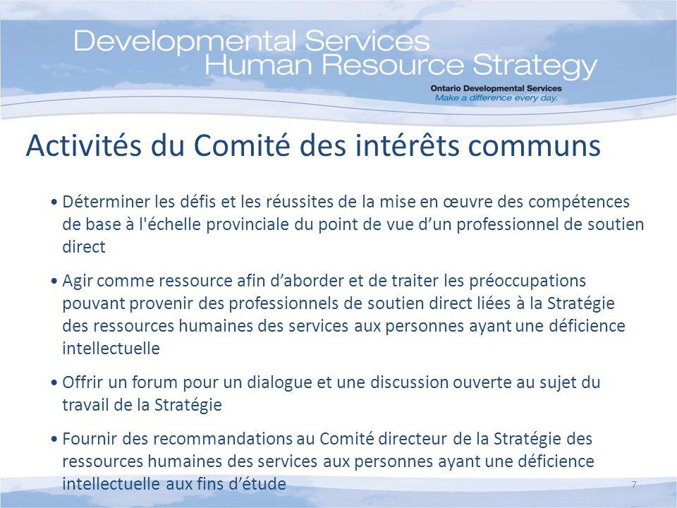 7 Déterminer les défis et les réussites de la mise en œuvre des compétences de base à l'échelle provinciale du point de vue dun professionnel de souti