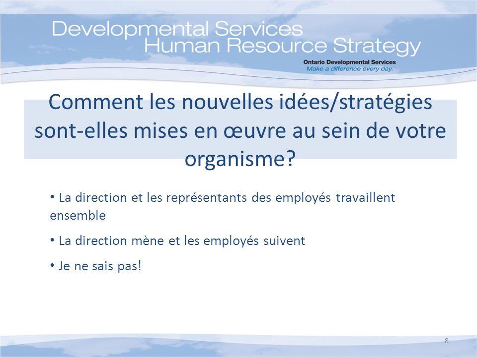 Comment les nouvelles idées/stratégies sont-elles mises en œuvre au sein de votre organisme? La direction et les représentants des employés travaillen