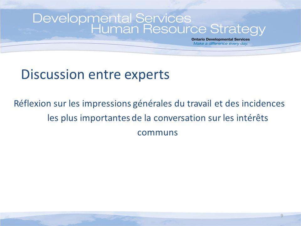Discussion entre experts Réflexion sur les impressions générales du travail et des incidences les plus importantes de la conversation sur les intérêts communs 9