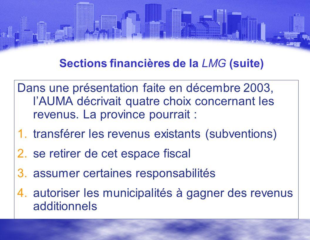 Sections financières de la LMG (suite) Dans une présentation faite en décembre 2003, lAUMA décrivait quatre choix concernant les revenus.