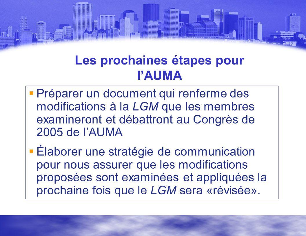 Les prochaines étapes pour lAUMA Préparer un document qui renferme des modifications à la LGM que les membres examineront et débattront au Congrès de 2005 de lAUMA Élaborer une stratégie de communication pour nous assurer que les modifications proposées sont examinées et appliquées la prochaine fois que le LGM sera «révisée».