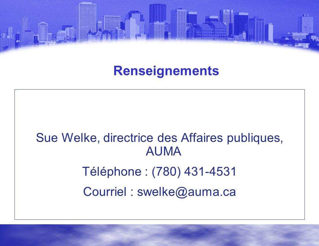 Renseignements Sue Welke, directrice des Affaires publiques, AUMA Téléphone : (780) 431-4531 Courriel : swelke@auma.ca