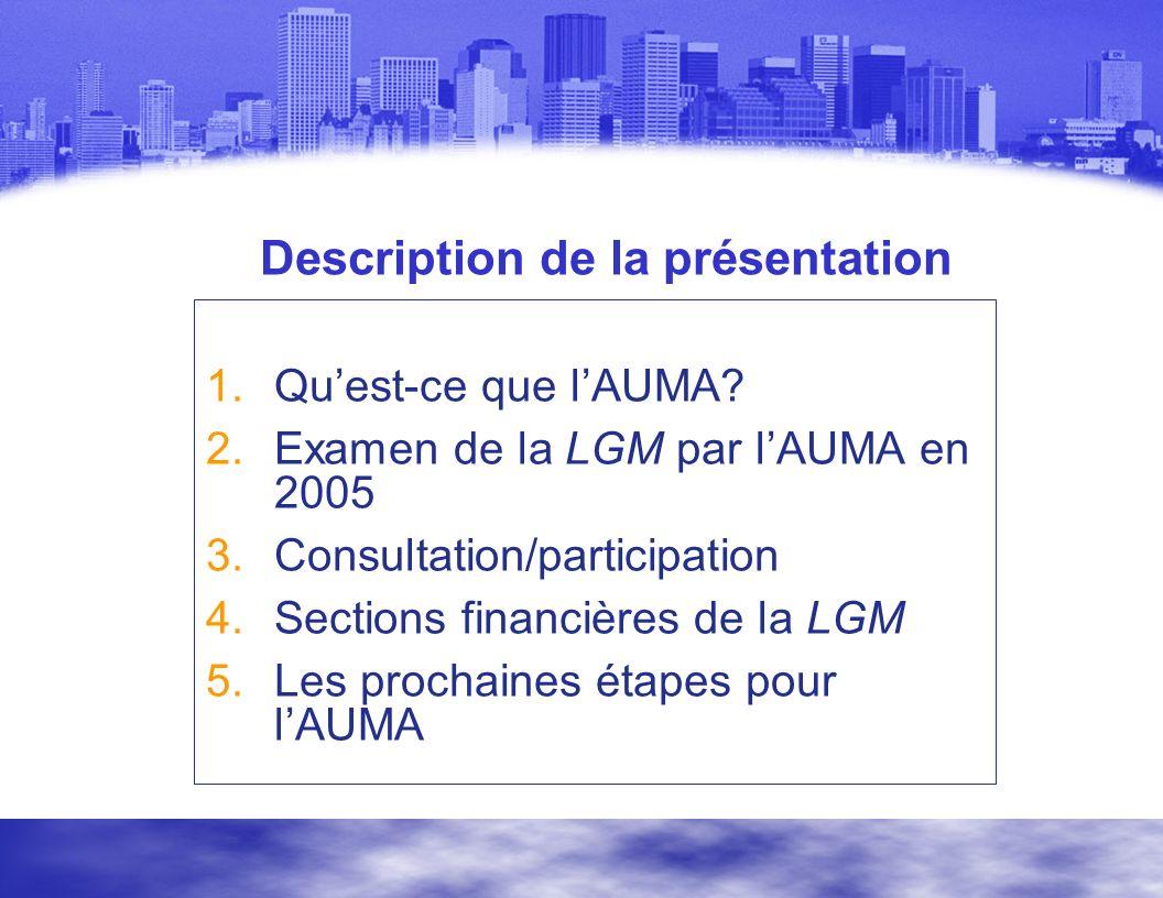 Description de la présentation 1.Quest-ce que lAUMA.