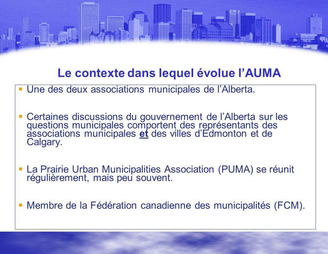 Le contexte dans lequel évolue lAUMA Une des deux associations municipales de lAlberta.