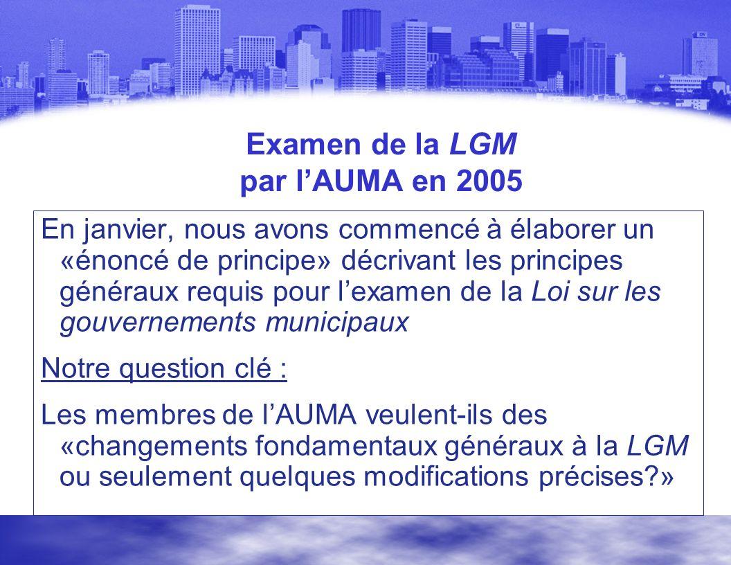Examen de la LGM par lAUMA en 2005 En janvier, nous avons commencé à élaborer un «énoncé de principe» décrivant les principes généraux requis pour lexamen de la Loi sur les gouvernements municipaux Notre question clé : Les membres de lAUMA veulent-ils des «changements fondamentaux généraux à la LGM ou seulement quelques modifications précises?»