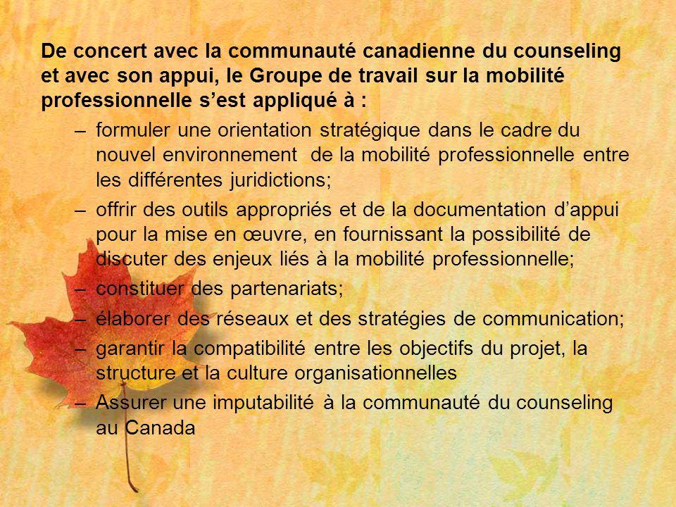 De concert avec la communauté canadienne du counseling et avec son appui, le Groupe de travail sur la mobilité professionnelle sest appliqué à : –form