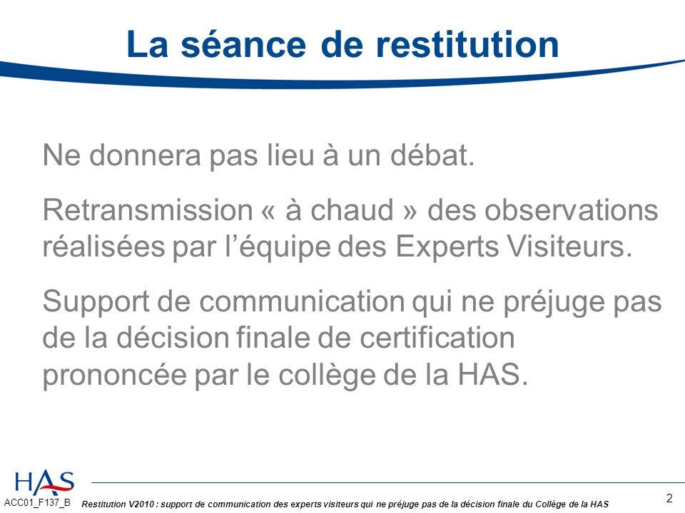 ACC01_F137_B Restitution V2010 : support de communication des experts visiteurs qui ne préjuge pas de la décision finale du Collège de la HAS La séanc