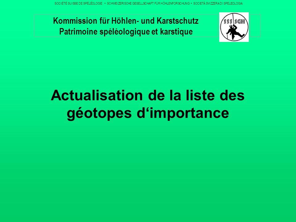 Travaux antérieurs / Etat de la situation A la rencontre dhiver, nous avons présenté de manière assez détaillée la question des géotopes, en particulier des objets spéléologiques.