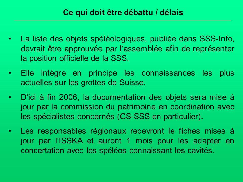 Ce qui doit être débattu / délais La liste des objets spéléologiques, publiée dans SSS-Info, devrait être approuvée par lassemblée afin de représenter la position officielle de la SSS.