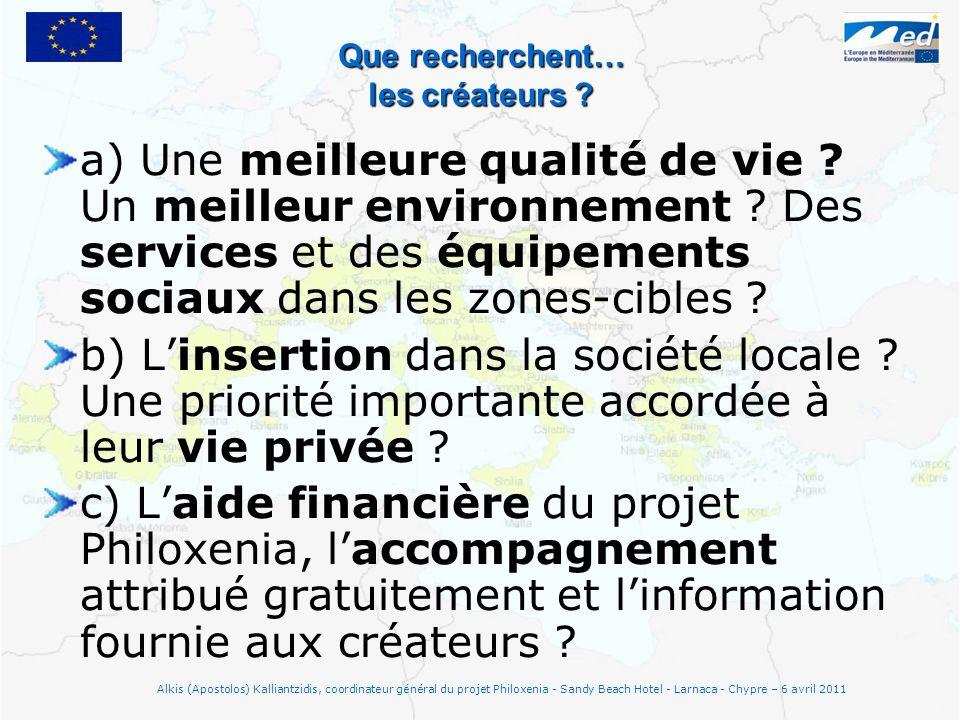 Que recherchent… les créateurs ? a) Une meilleure qualité de vie ? Un meilleur environnement ? Des services et des équipements sociaux dans les zones-
