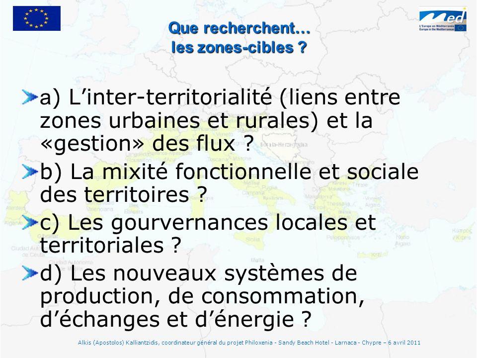 Que recherchent… les zones-cibles ? a ) Linter-territorialité (liens entre zones urbaines et rurales) et la «gestion» des flux ? b) La mixité fonction