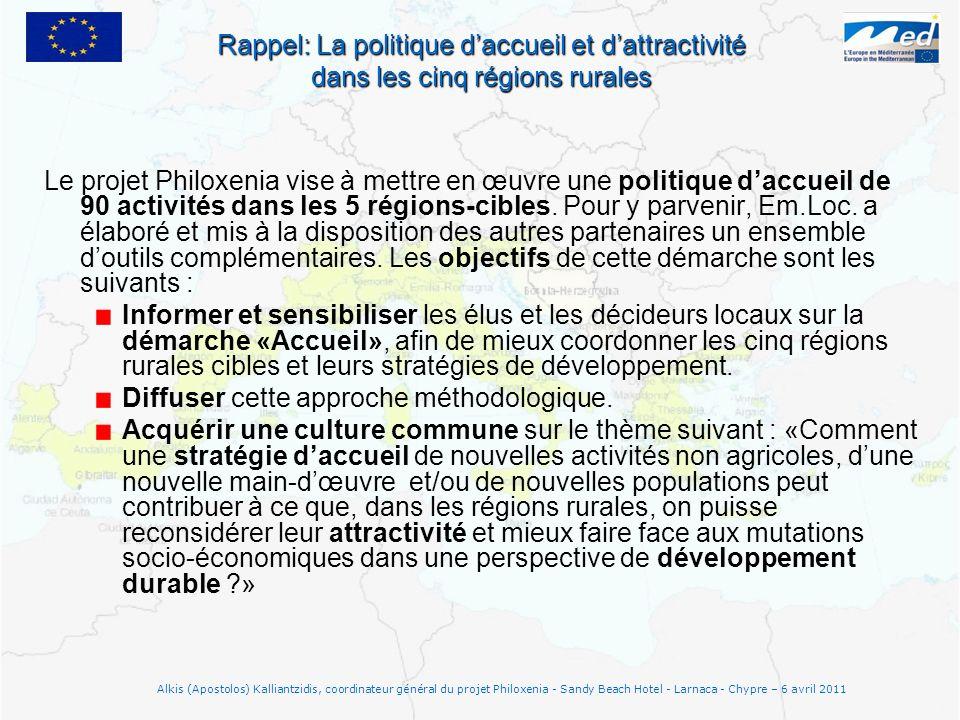 Le projet Philoxenia vise à mettre en œuvre une politique daccueil de 90 activités dans les 5 régions-cibles. Pour y parvenir, Em.Loc. a élaboré et mi