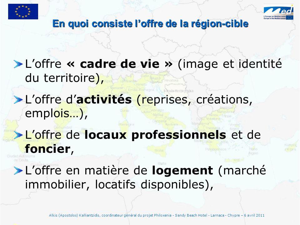 En quoi consiste loffre de la région-cible Loffre « cadre de vie » (image et identité du territoire), Loffre dactivités (reprises, créations, emplois…