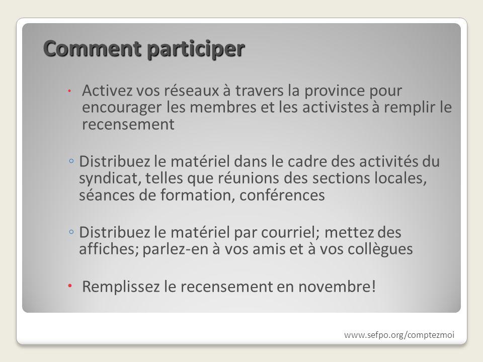 Comment participer Activez vos réseaux à travers la province pour encourager les membres et les activistes à remplir le recensement Distribuez le maté