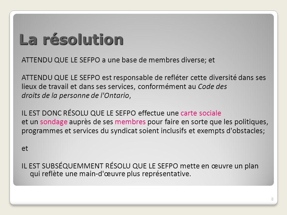 Les résultats visés La résolution de 2008 s adressait au SEFPO en tant que syndicat et employeur.