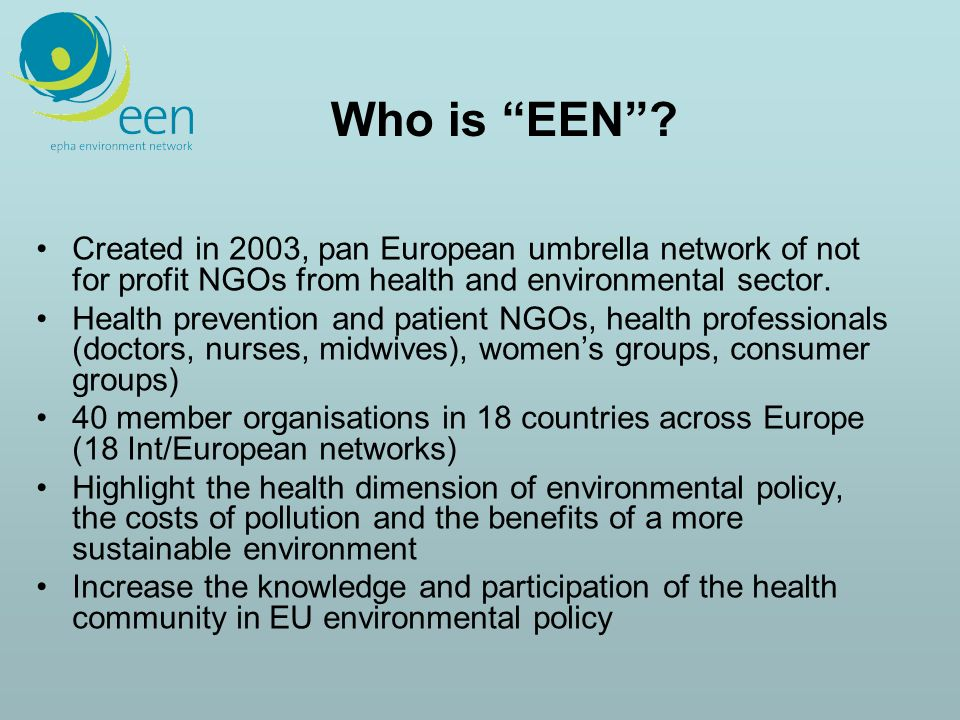 WHO -- www.who.dk/eehc To be launched 19 Octoberwww.who.dk/eehc