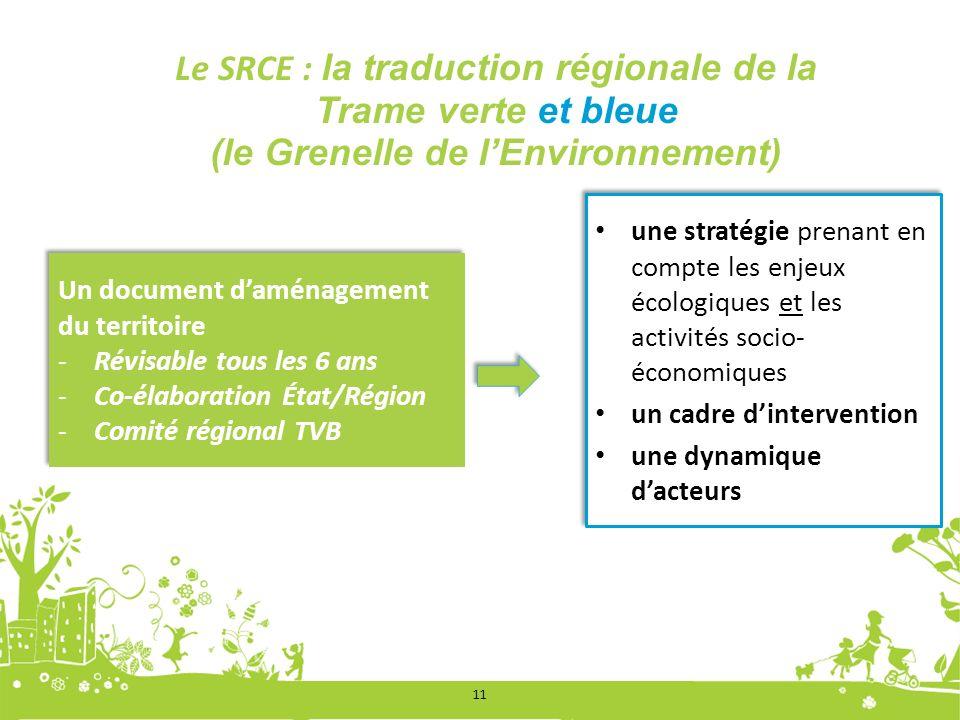 11 Le SRCE : la traduction régionale de la Trame verte et bleue (le Grenelle de lEnvironnement) Un document daménagement du territoire -Révisable tous