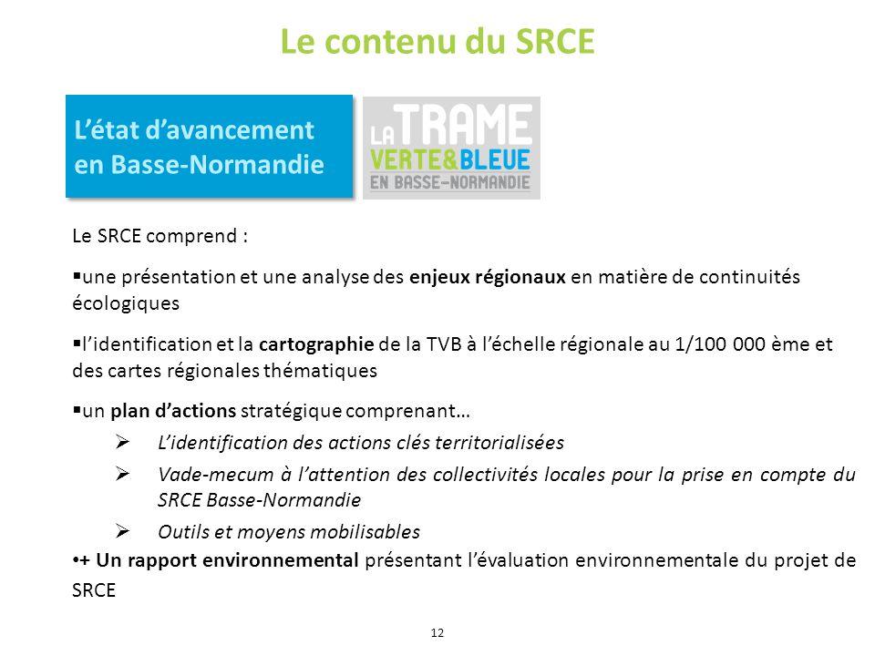 Le contenu du SRCE Létat davancement en Basse-Normandie Le SRCE comprend : une présentation et une analyse des enjeux régionaux en matière de continui