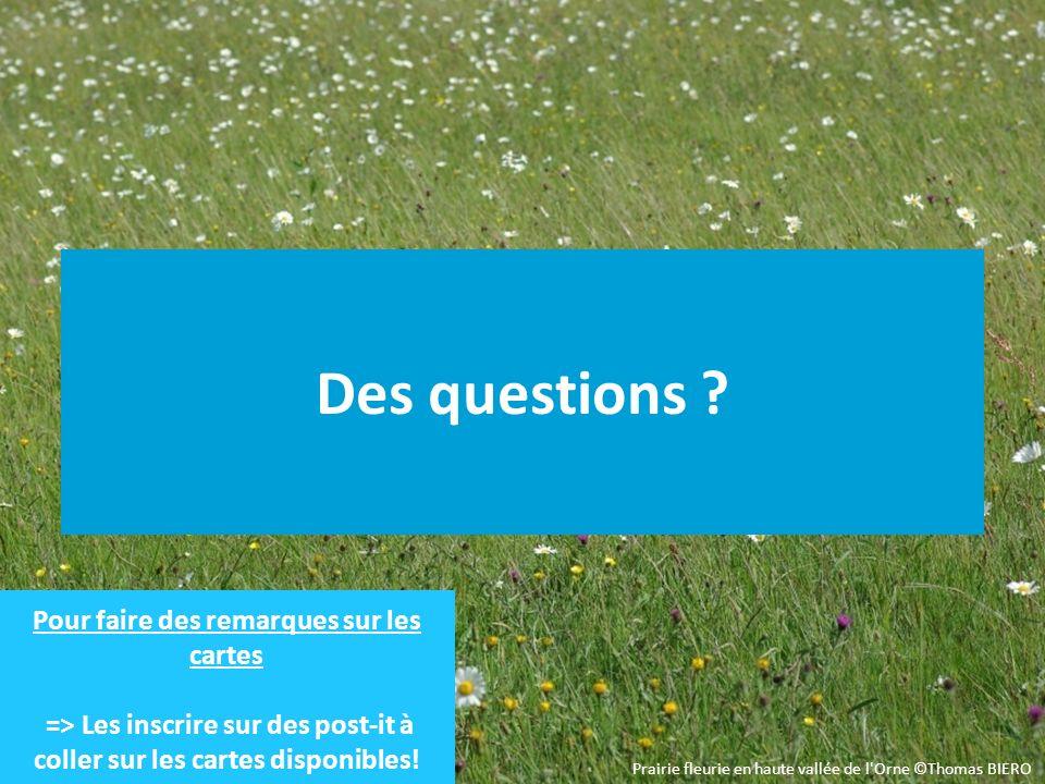 Des questions ? Prairie fleurie en haute vallée de l'Orne ©Thomas BIERO Pour faire des remarques sur les cartes => Les inscrire sur des post-it à coll