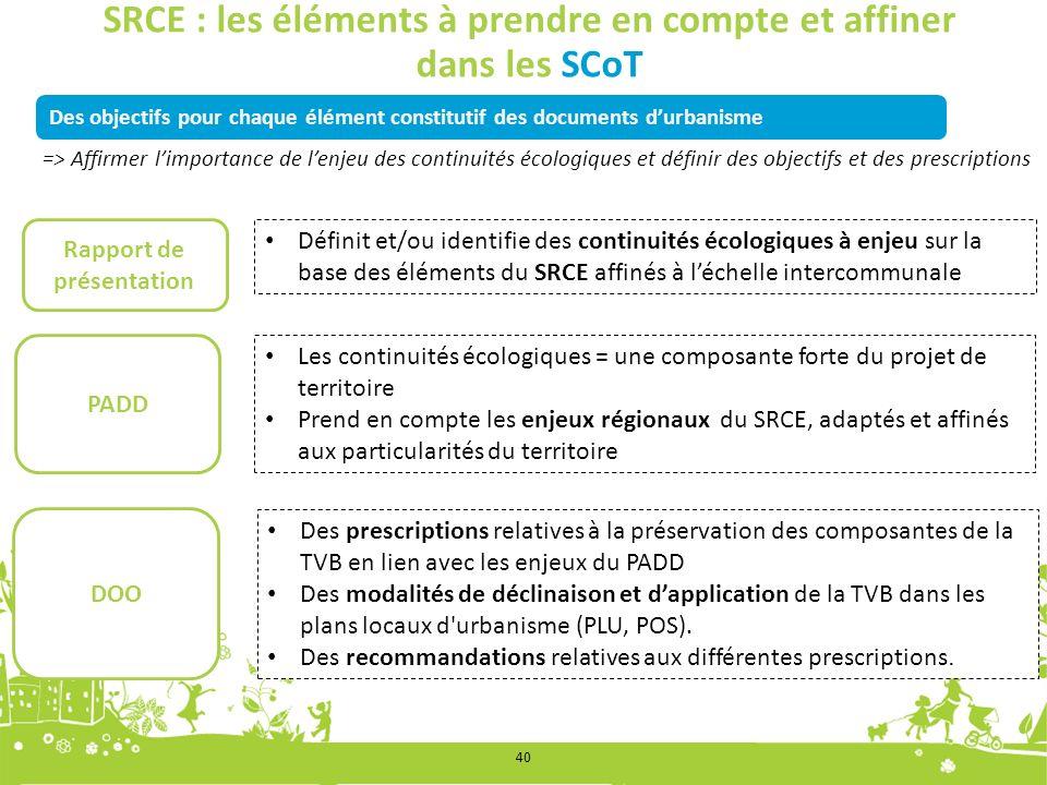 Des objectifs pour chaque élément constitutif des documents durbanisme SRCE : les éléments à prendre en compte et affiner dans les SCoT Définit et/ou