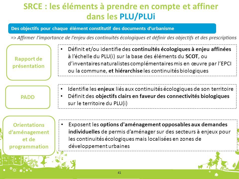 Des objectifs pour chaque élément constitutif des documents durbanisme SRCE : les éléments à prendre en compte et affiner dans les PLU/PLUi Rapport de