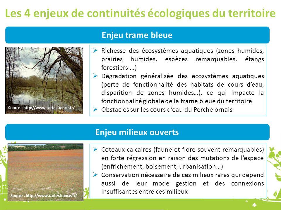 Les 4 enjeux de continuités écologiques du territoire Enjeu trame bleue Richesse des écosystèmes aquatiques (zones humides, prairies humides, espèces