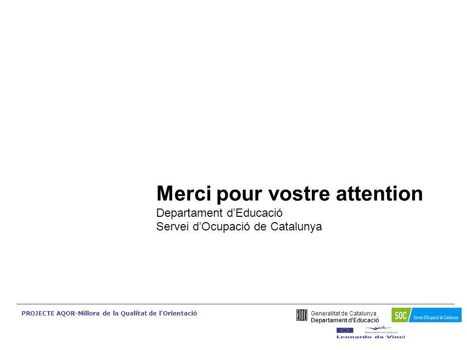 Generalitat de Catalunya Departament dEducació PROJECTE AQOR-Millora de la Qualitat de lOrientació Merci pour vostre attention Departament dEducació S