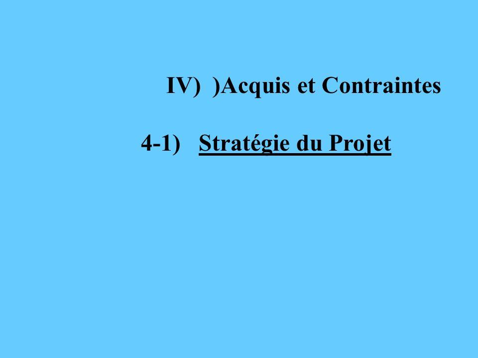 IV) )Acquis et Contraintes 4-1) Stratégie du Projet