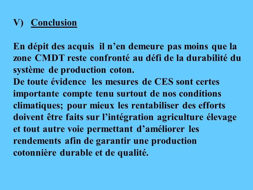 V) Conclusion En dépit des acquis il nen demeure pas moins que la zone CMDT reste confronté au défi de la durabilité du système de production coton. D