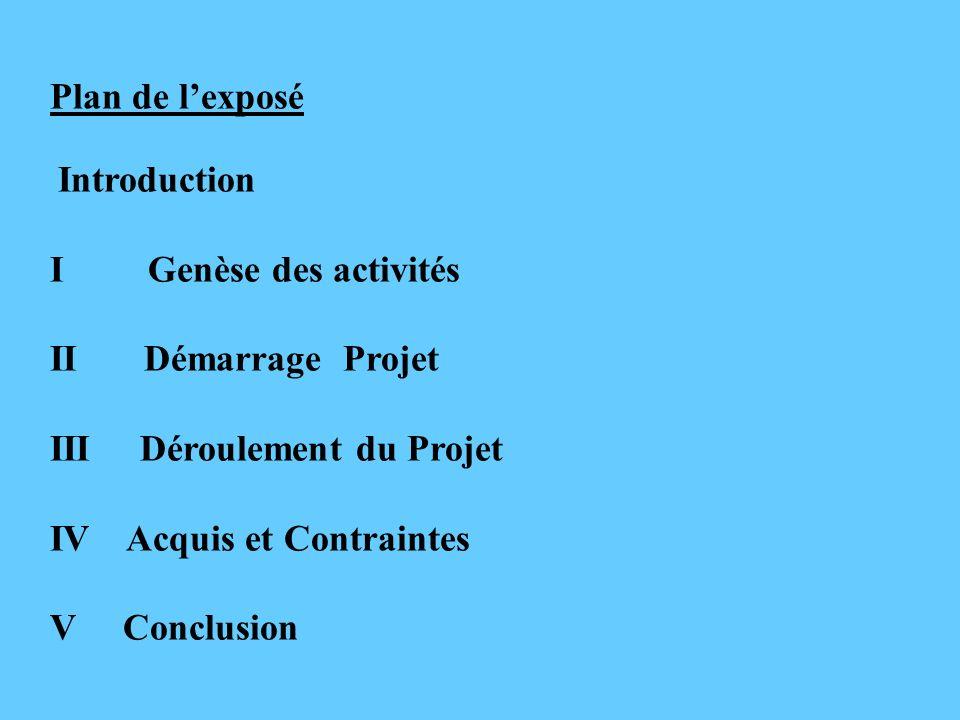 Plan de lexposé Introduction I Genèse des activités II Démarrage Projet III Déroulement du Projet IV Acquis et Contraintes V Conclusion