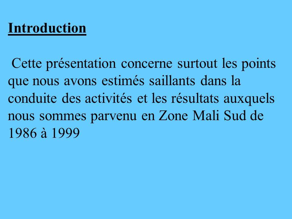 Introduction Cette présentation concerne surtout les points que nous avons estimés saillants dans la conduite des activités et les résultats auxquels
