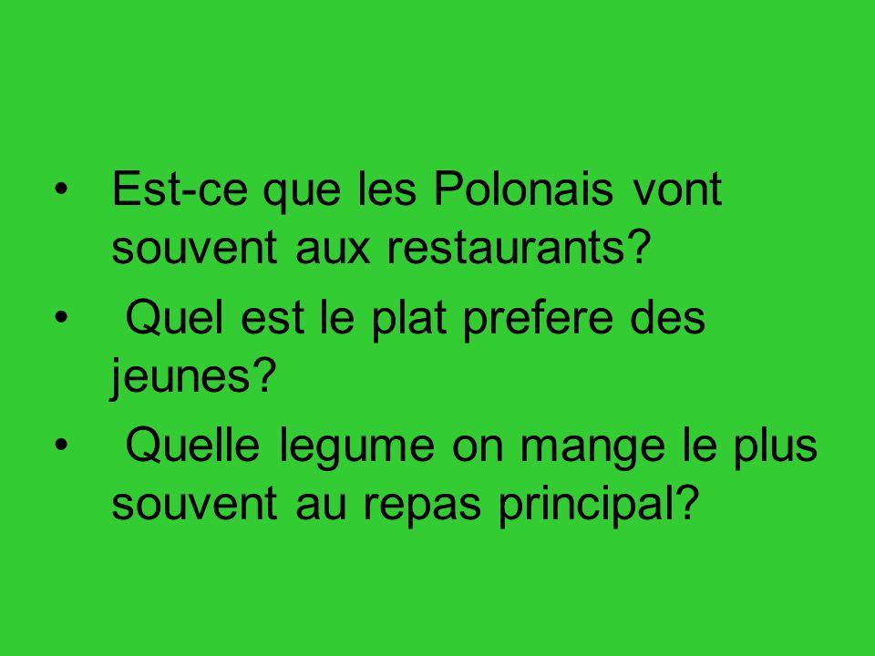 Est-ce que les Polonais vont souvent aux restaurants? Quel est le plat prefere des jeunes? Quelle legume on mange le plus souvent au repas principal?