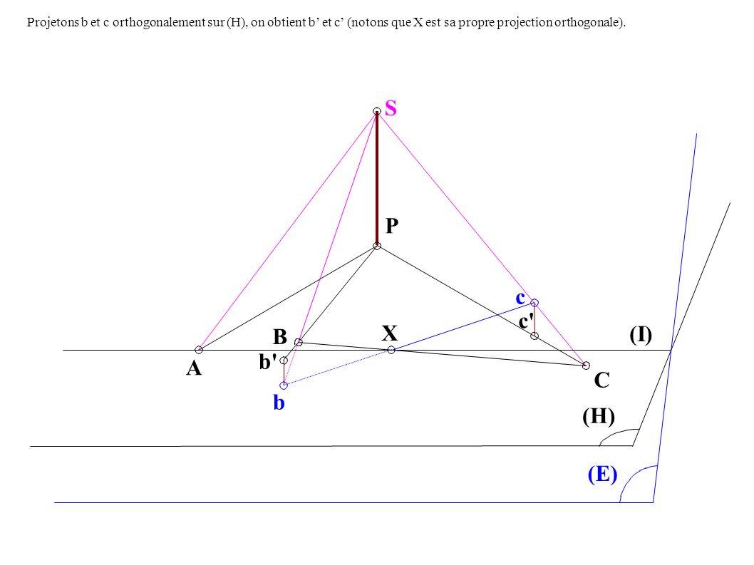 A B b P c c X C (I) (H) (E) S b Projetons b et c orthogonalement sur (H), on obtient b et c (notons que X est sa propre projection orthogonale).