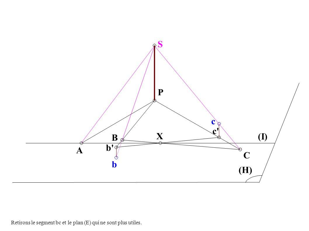 A B b P c c X C (I) (H) S b Retirons le segment bc et le plan (E) qui ne sont plus utiles.