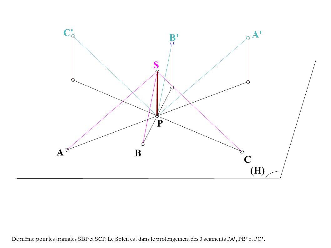 B P S C (H) A B C A De même pour les triangles SBP et SCP.