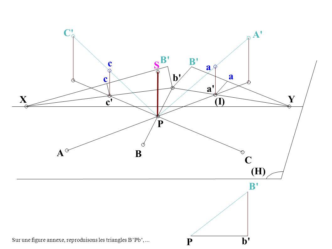 Y (I) (H) b X C A c a a P S A B C c a c B P b Sur une figure annexe, reproduisons les triangles BPb,...