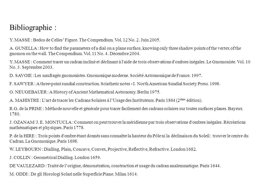 Bibliographie : Y. MASSE : Bedos de Celles Figure.