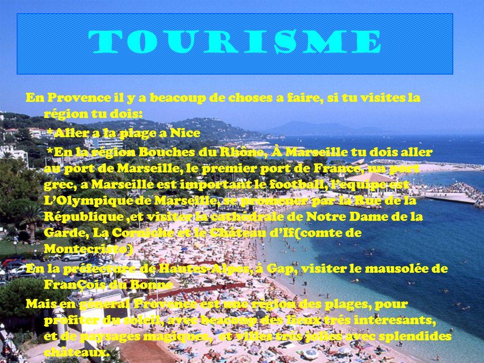 tourisme En Provence il y a beacoup de choses a faire, si tu visites la région tu dois: *Aller a la plage a Nice *En la région Bouches du Rhône, À Mar