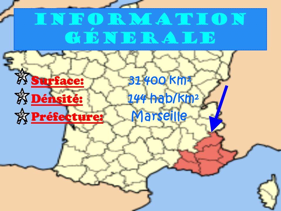 Information génerale Surface: 31 400 km² Dénsité: 144 hab/km² Préfecture: Marseille