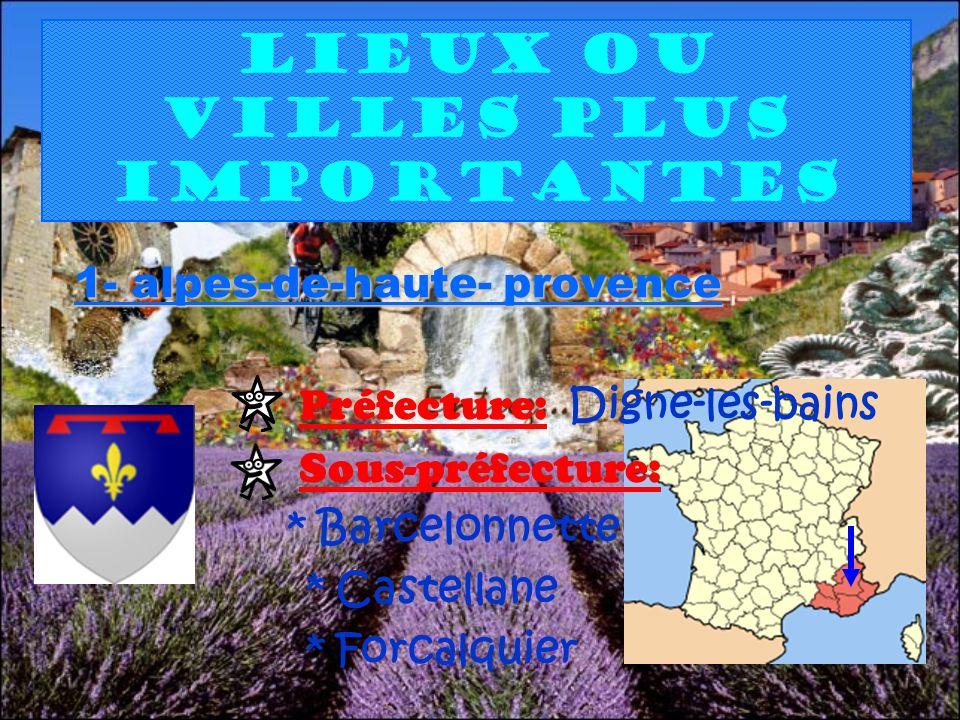 Lieux ou villes plus importantes 1- alpes-de-haute- provence Préfecture: Digne-les-bains Sous-préfecture: * Barcelonnette * Castellane * Forcalquier