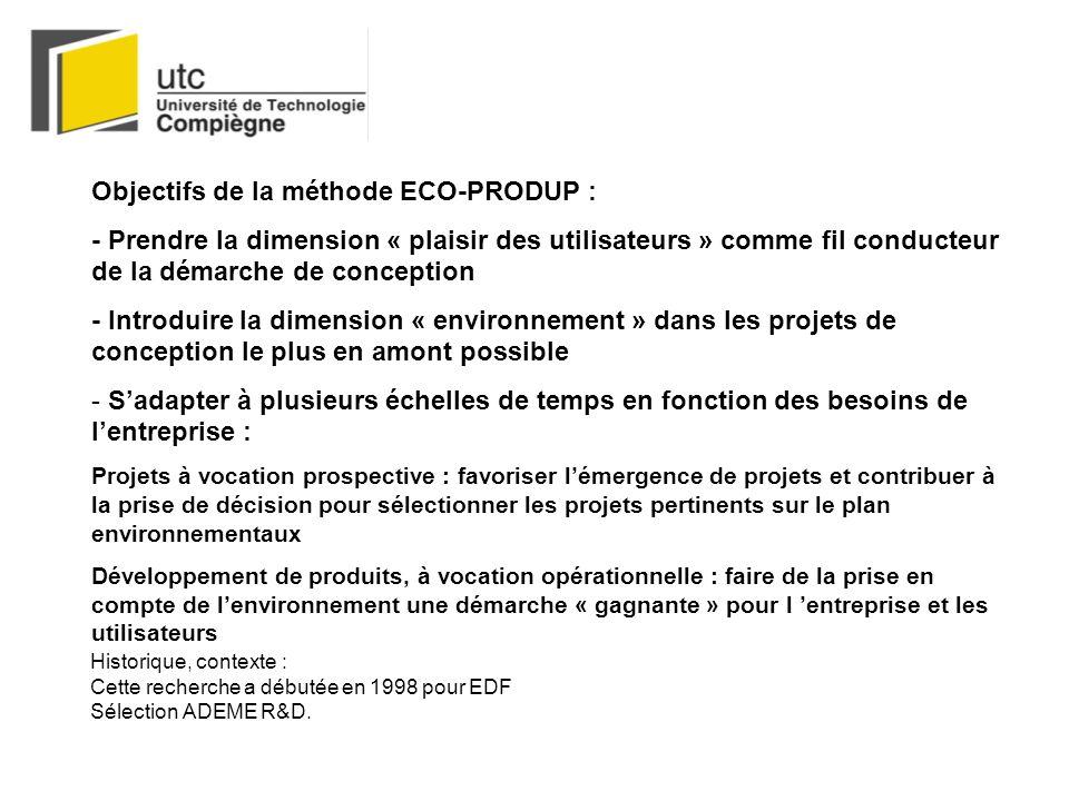 Objectifs de la méthode ECO-PRODUP : - Prendre la dimension « plaisir des utilisateurs » comme fil conducteur de la démarche de conception - Introduire la dimension « environnement » dans les projets de conception le plus en amont possible - Sadapter à plusieurs échelles de temps en fonction des besoins de lentreprise : Projets à vocation prospective : favoriser lémergence de projets et contribuer à la prise de décision pour sélectionner les projets pertinents sur le plan environnementaux Développement de produits, à vocation opérationnelle : faire de la prise en compte de lenvironnement une démarche « gagnante » pour l entreprise et les utilisateurs Historique, contexte : Cette recherche a débutée en 1998 pour EDF Sélection ADEME R&D.